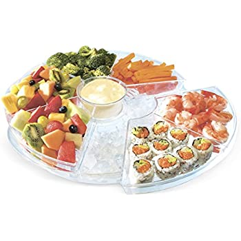 Kleeger Appetizer Serving Tray Platter: 6 Sections Keeps Food Chilled On Ice