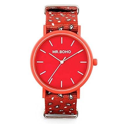 Mr Boho Reloj Mujer con Correa Rojo y Pantalla en Rojo 00728664