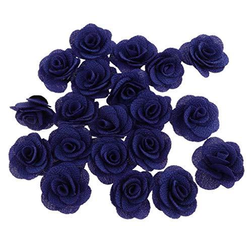BROSCO 20x Artificial Simulation Silk Camellia Rose Flower Head Handmade Crafts 4cm | Color - Royal Blue