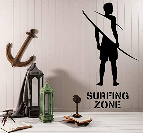 olaaply Wall Decal Quote Words Lettering Decor Sticker Wall Vinyl Surfer Silhouette Board Surfing Zone Area Beach ()