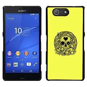 """For Sony Xperia Z3 Plus / Z3+ / Sony E6553 (Not Z3) Case , Amor amarillo del corazón del cráneo de la guirnalda de la Muerte"""" - Diseño Patrón Teléfono Caso Cubierta Case Bumper Duro Protección Case Cover Funda"""