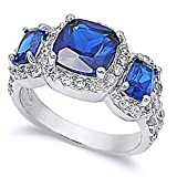 Sterling Silver Cushion Cut Simulated Blue Sapphire CZ Three Stone Anniversary Ring 11MM ( Size 4 to 13 ), 13