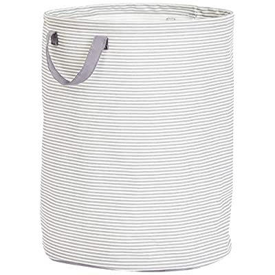 AmazonBasics Large Round Laundry Hamper Storage Basket with Handles, Striped - Large storage basket for keeping everyday items neatly contained Made of lightweight yet durable linen material; classic style offers long-lasting good looks Waterproof PE-coated interior for moisture resistance - laundry-room, hampers-baskets, entryway-laundry-room - 5110lsQvyjL. SS400  -