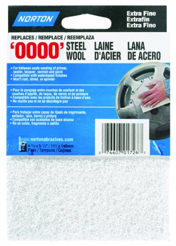 "Norton 01726 Synthetic Steel Wool, White, 2-Pack, White, 4-3/8"" x 5-1/2"""