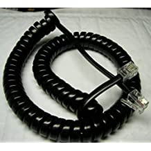 """Lot of 2 Black Glossy 9' Ft Phone Handset Cord for Mitel 5000 5200 5300 IP Series with 4"""" Tail/Lead/Leader (2-Pack) by DIY-BizPhones"""
