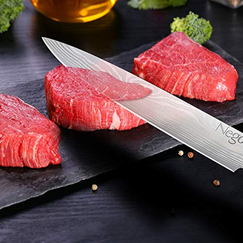 Sashimi Knife - Kitchen Knife - 8.5 Inch Chef's Knife - German High Carbon Stainless Steel With Ergonomic Handle Protective Finger Guard - Cooking Knife Chef Knives Vegetable Cleavers by Nego (Image #1)
