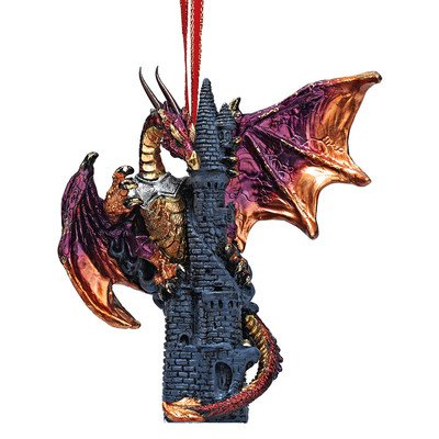 Dragon Christmas Ornaments (Christmas Tree Ornaments - Zanzibar the Gothic Dragon on Castle Holiday Ornament - Dragon Statue)