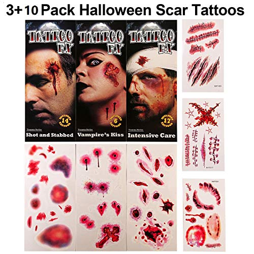 Scar Tattoos, Halloween Zombie Scars Tattoos 3+3 Pack 3D Waterproof Temporary Blood Injury Scar Terror Wound Fake Tattoos for Halloween Makeup and Party Cosplay
