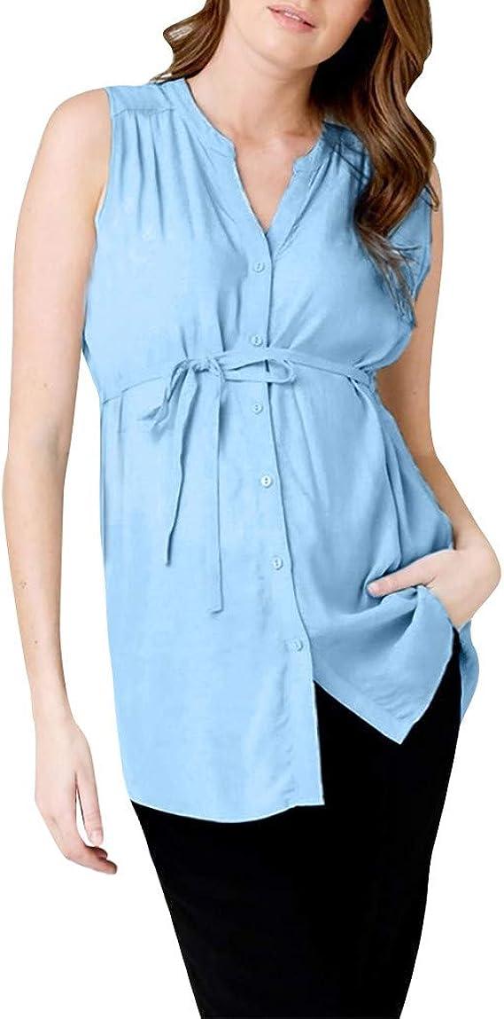 Camisa de Mujer Maternidad con Botones, premamá Lactancia Camisa Blusa sin Mangas Verano Camiseta Tops Azul XL: Amazon.es: Ropa y accesorios