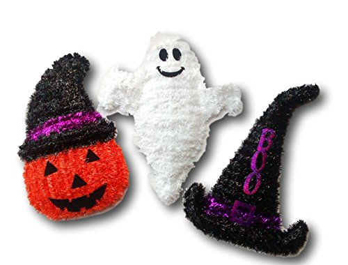 TEACHER CLASSROOM HALLOWEEN DECORATIONS FOR PARTY-SET OF 3 GHOST, PUMPKIN/JACK O LANTERN WITH HAT ,WITCH HAT WITH BOO SAYING HANGING WALL SIGN- GREAT FOR ANY HOME OR OFFICE PARTY -