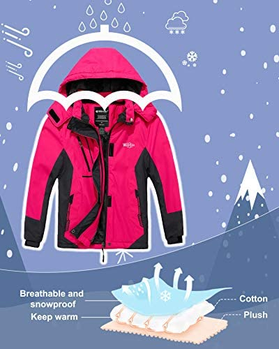Wantdo Girl's Waterproof Ski Jacket Hooded Fleece Winter Snow Coat Windproof Raincoats Mountain Outwear