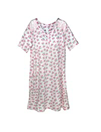 Sag Harbor Women's Plus Size Floral Nightshirt Gown with Lace Trim
