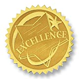 Excellence Rising Star Embossed Gold Foil Certificate Seals, Self Adhesive, 102 Count