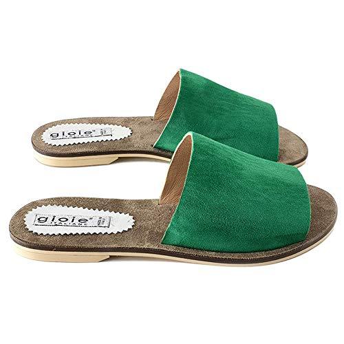 Comoda Sandalia Verde Pf501 Y Cuero camoscio vnnZPSFxW