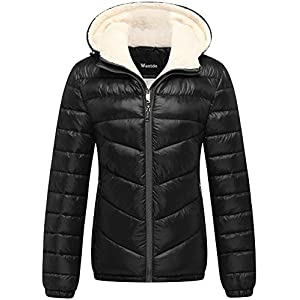 Wantdo Women's Winter Hooded Thick Puffer Jacket US Small Black