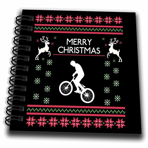 3dRose Sven Herkenrath Sport - Bike Bicycle Sport Hobby with Merry Christmas Xmas Phrases - Mini Notepad 4 x 4 inch ()