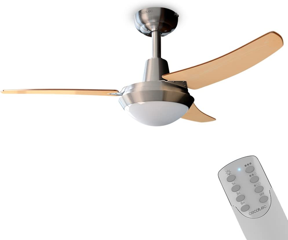Cecotec Ventilador de Techo ForceSilence Aero 480. 106 cm de Diámetro, 3 Aspas Reversibles, 3 Velocidades, 65 W