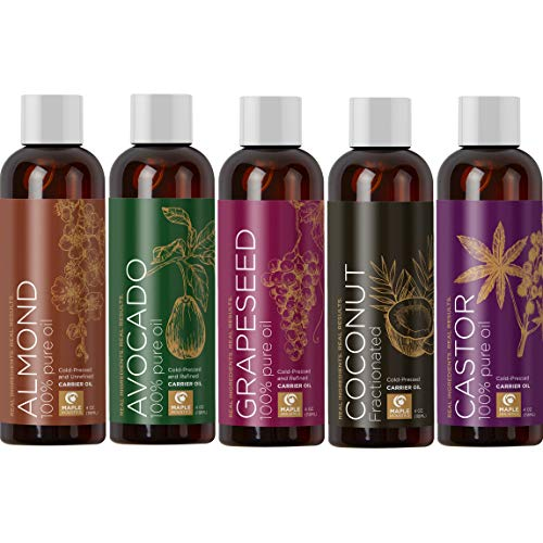 100% Pure Carrier Oil Gift Set Cold Pressed Coconut Oil Sweet Almond Oil Avocado Oil Castor Oil Grape Seed Oil Moisturizer Massage Oil Hair Conditioner for Healthy Hair Growth and Anti Aging Skin Care