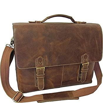 Image of AmeriLeather Classical Leather Organizer Briefcase (Brown) Luggage