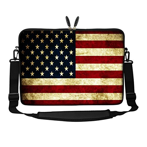 Meffort Inc 14 14.1 Inch Neoprene Laptop Sleeve Bag Carrying Case with Hidden Handle and Adjustable Shoulder Strap (American Flag)