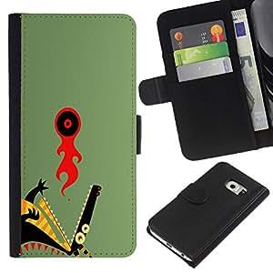 Protector de cuero de la PU de la cubierta del estilo de la carpeta del tirón BY RAYDREAMMM - Samsung Galaxy S6 EDGE - Resumen del dragón