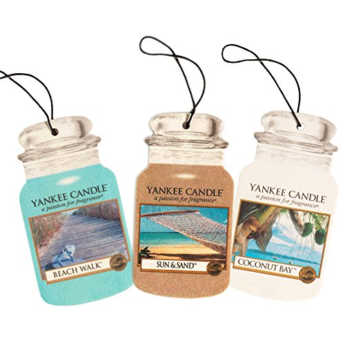 Yankee Candle Car Jar -- Summer Beach Trio - Beach Walk, Sun and Sand, Coconut Bay - Set of THREE Car Jars