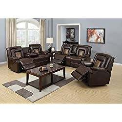 BEVERLY FINE FURNITURE 3 Piece Leather Living Room Sofa Set with 5 Recliners and 2 Drop Down Tables, Braden Brown