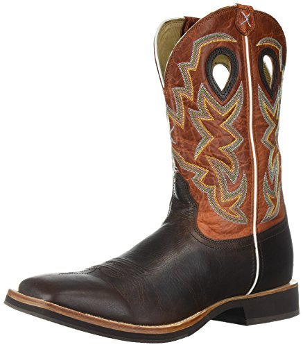 Twisted X Mens Chocolate Leather Square Toe Orange Horseman Cowboy Boots 10D