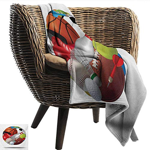 Sports Decorative Throw Blanket Soccer Ball Combined with Other Sports Equipment Universal Hockey Darts Boxing Fun Anti-Static Throw 50