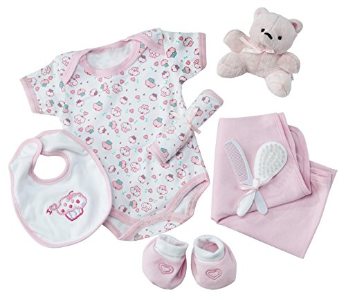 Big Oshi 9 Piece Layette Newborn Baby Gift Basket for Girls - Great Baby Shower or Registry Gift Box to Welcome a New Arrival - All Essentials Including: Bodysuit, Blanket, Bib, and Booties, Pink