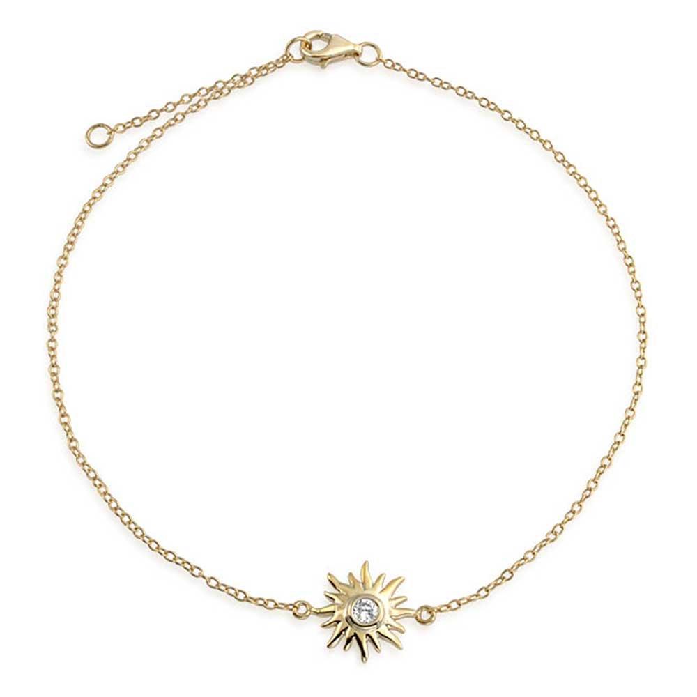Bling Jewelry CZ Argent plaqué Or soleil réglable de cheville charme Sunburst PFS-54-0357