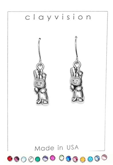 e60720cd2 Image Unavailable. Image not available for. Color: Clayvision Rabbit Bunny  Easter Charm Earrings with No Swarovski Crystals