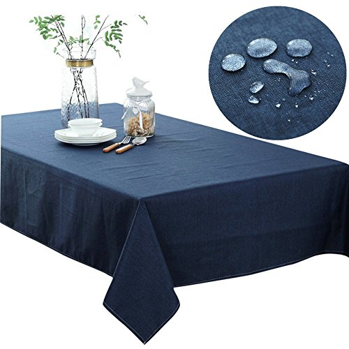 220GSM Heavy Weight Solid Color Tablecloth Rectangular Cotton Linen Table Cloth Waterproof Spillproof Oil-proof for Kitchen Dinning Tabletop Navy Blue 51 x 87 Baby Solid Color Tableware
