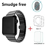 LDFAS Apple Watch Series 3 Band, 42mm Stainless Steel Link Bracelet Strap With Butterfly Closure for Apple Watch Series 3 / 2 / 1 - Black [Set]