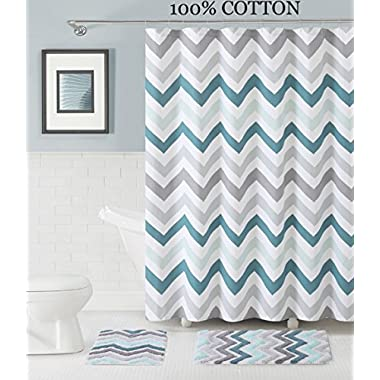 3 Pc. Bath Set: Shower Curtain and 2 Mats, Chevron Zig Zag Design, Purple, White and Gray, 100% Cotton (Blue-Teal-White-Gray)