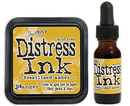 - Tim Holtz Ranger Distress 2015 Color of the Month Ink Pad and Reinker Bundle - 2 Items (April - Fossilized Amber)
