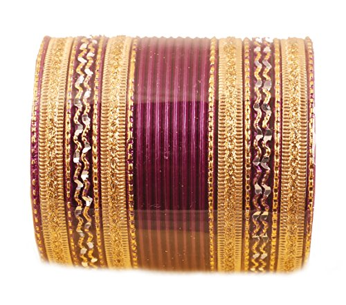 Touchstone New Colorful 2 Dozen Bangle Collection Indian Bollywood Alloy Metal Textured Purple Golden Designer Special Large Size Bangle Bracelets Set of 24. in Antique Gold Tone for Women