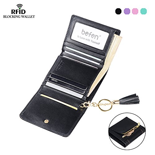 Befen Women's RFID Blocking Leather Trifold Wallet, Short Chic Hollow Out Tassel Hasp Zipper Purse, Ladies Money Clip (Womens Tri Fold)