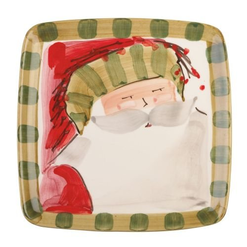 Old St. Nick Square Salad Plate - Striped Hat