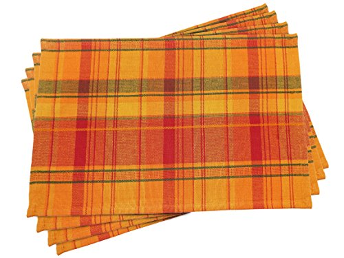 Fall Harvest Plaid Placemats - Set of 4 - 13 x 19 (Thanksgiving Placemat)