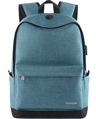 High School Backpack, Middle Student Bag with USB Port for Men Women Teen, Causel Basic Bookbag Fits 15.6 Inch Laptop/Notebook Designed for Travel Work Study - Purplish Blue by Vancropak (Image #7)