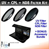 49mm Digital High-Resolution ND8 Filter Kit For The Sony NEX-VG10, NEX-VG30 Camcorder Which Have Any Of These A Series (18-70mm, 18-55mm, 75-300mm, 55-200mm, 35mm f/1.8, 85mm f/2.8, 50mm, 100mm) Sony Lenses. Includes Multi-Coated 3 PC ND8 Filter Kit (UV, CPL, ND8), Deluxe Filter Carry Case, + BONUS UltraPro Bundle: Cleaning Kit, LCD Screen Protector, Mini Tripod