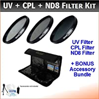 52mm Digital High-Resolution ND8 Filter Kit For The Nikon D3100, D7000 Digital SLR Camera Which Have Any Of These (18-55mm, 55-200mm, 50mm) Nikon Lenses. Includes Multi-Coated 3 PC ND8 Filter Kit (UV, CPL, ND8), Deluxe Filter Carry Case, + BONUS UltraPro Bundle: Cleaning Kit, LCD Screen Protector, Mini Tripod