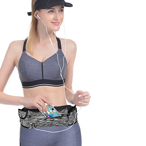 Running Belt Waist Pack, Bestobal Water Resistant Runners Belt Fanny Pack for Hands Free Workout – Adjustable Running Pouch for iPhone X 6 7 8 Plus (Grey)