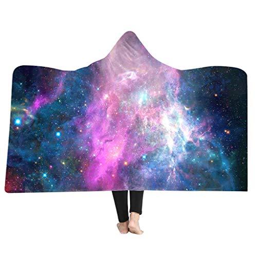MONISE-honme 3D Galaxy Star Print Super Hooded Blanket,Hooded Throw Blanket Soft Cloak Wearable Hooded Blanket for Adult(A)