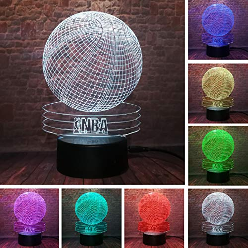 (Creative Visual 3D NBA Basketball Led Night Light 7 Color Home Table Party Plub Bar Decor Lamp Boys Son Man Kid Favor Best Gifts)