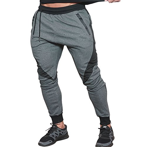 LANGCHEN Men's Workout Jogger Pants Gym Bodybuilding Running Trousers Pockets Dark Grey [US L/Tag 2XL]