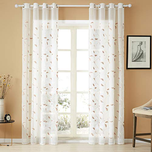 Floral Panel Tan - Top Finel White Sheer Curtains 84 Inches Long Brown Embroidered Leaves Grommet Window Curtains for Living Room Bedroom, 2 Panels