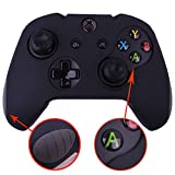 Pandaren Soft Silicone Thicker Skin Cover for Xbox One Controller Set (Black skin X 1 + Thumb Grip X 2)
