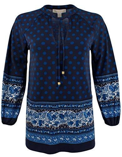 - Michael Michael Kors Womens Sunny Batik Printed Pullover Peplum Top Navy XS